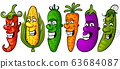 Fresh vegetables icons set of vector illustrations 63684087