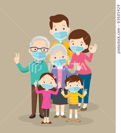 big family  wearing a surgical mask to prevent 63685424