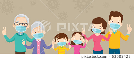 big family  wearing a surgical mask to prevent 63685425