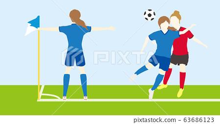 축구를하는 여성 심플 세트 03 63686123