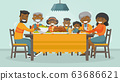 Family celebrating Thanksgiving Holiday card. 63686621
