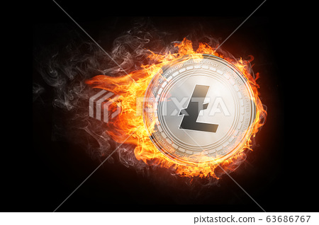 Golden Litecoin coin flying in fire flame. 63686767