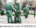 COVID-19 outbreak. Two medical workers in bio viral hazard protective suits spray of chemicals for 63686824