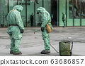 COVID-19 outbreak. Military people in bio viral hazard protective suits prepaire of chemicals for 63686857