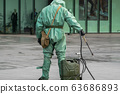 COVID-19 outbreak. Military people in bio viral hazard protective suits prepaire of chemicals for 63686893