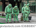 Military cleaning washing disinfection against coronavirus risk COVID-19. 63686897