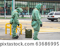 People in bio viral hazard protective suits. Disinfection and decontamination on a public place as a 63686995