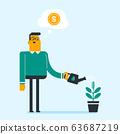 Caucasian businessman watering financial tree. 63687219