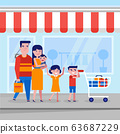 Young caucasian white family with kids shopping. 63687229