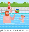 Happy caucasian family having fun in swimming pool 63687245