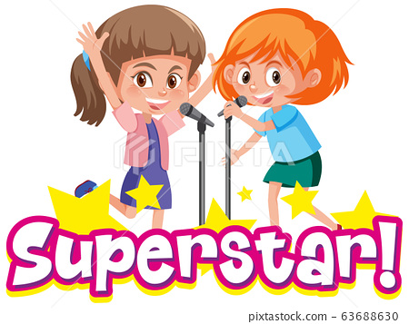 Font design for word superstar with two girls 63688630