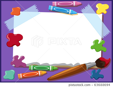 Background design template with crayons and 63688694