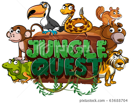 Font design for word jungle quest on white 63688704