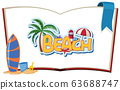 Font design template for word beach on the book 63688747