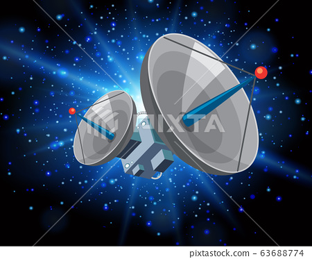 Scene with satellite floating in the galaxy 63688774