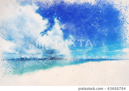 오키나와 민나 섬의 해변 수채화 화풍 63688784
