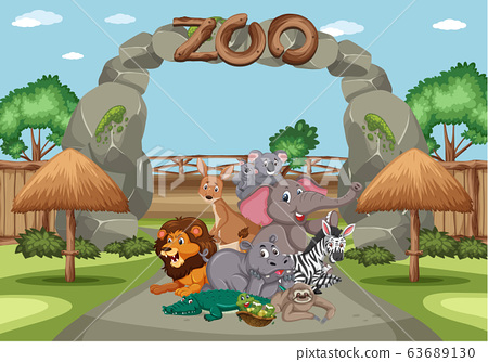 Scene with wild animals in the zoo at day time 63689130