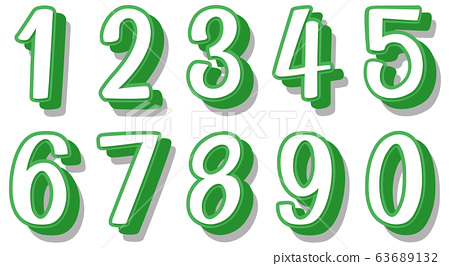 Font design for numbers one to zero on white 63689132