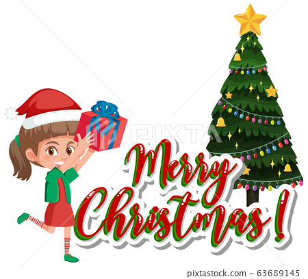 Font design template for merry christmas with girl 63689145