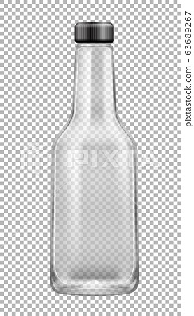 Empty glass bottle with lid on transparent 63689267