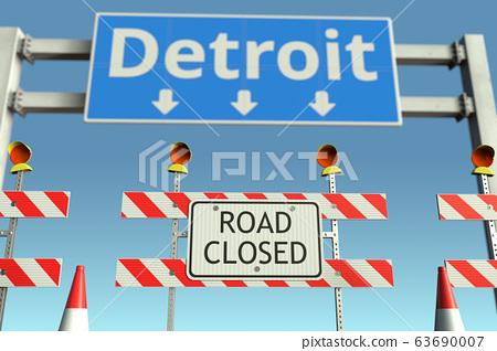 Roadblock near Detroit city road sign. Coronavirus disease quarantine or lockdown in the United States conceptual 3D rendering 63690007