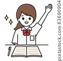 女学生举起手图 63690904