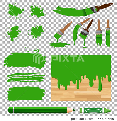 Different design of watercolor painting in green 63691440