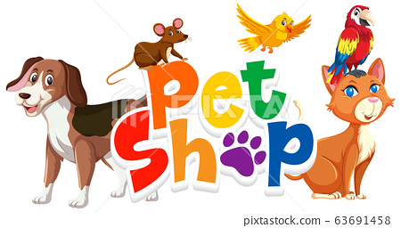 Font design for word pet shop with many animals on 63691458