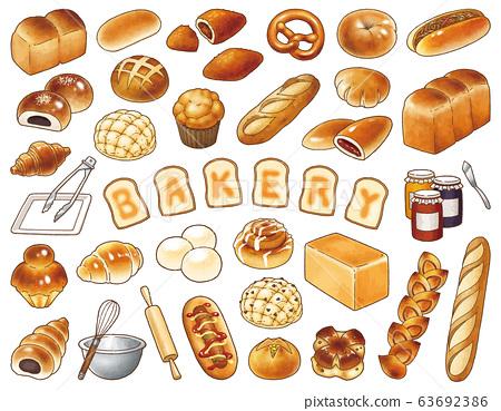 麵包店矢量插圖集 63692386
