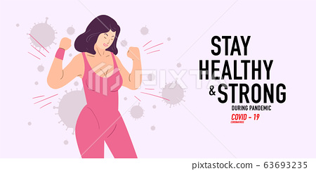 Stay healthy and strong woman attack coronavirus, covid-19 pandemic 63693235