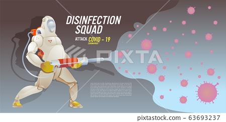 Illustration of disinfection team attack corona viruses, covid - 19 63693237