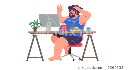 a man working from home preventing from corona virus, covid-19 pandemic 63693324