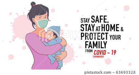 Illustration of mother protect her baby from corona virus, covid-19 63693328