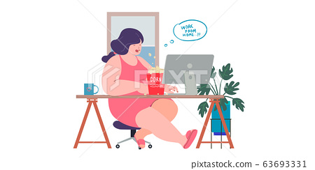 a women working at home preventing from corona virus, covid-19 pandemic 63693331