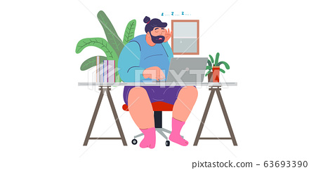 a man working from home preventing from corona virus, covid-19 pandemic 63693390