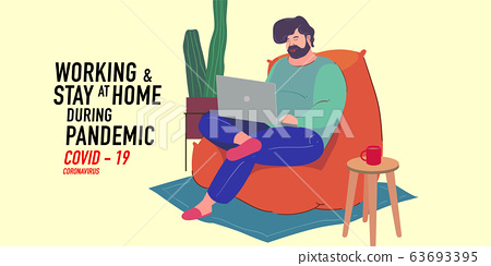 a man working from home preventing from corona virus, covid-19 pandemic 63693395