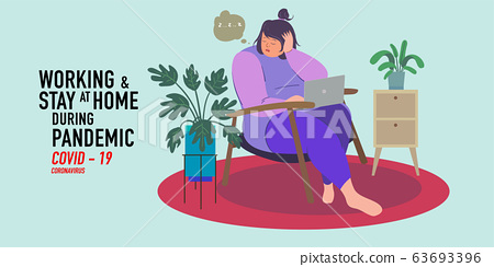 a women working at home preventing from corona virus, covid-19 pandemic 63693396