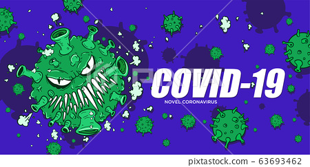 Coronavirus covid-19 and virus background with disease cells cartoon style illustration. Corona virus outbreaking and pandemic medical health risk. 63693462