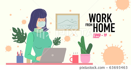 a women working at home preventing from corona virus, covid-19 pandemic 63693463
