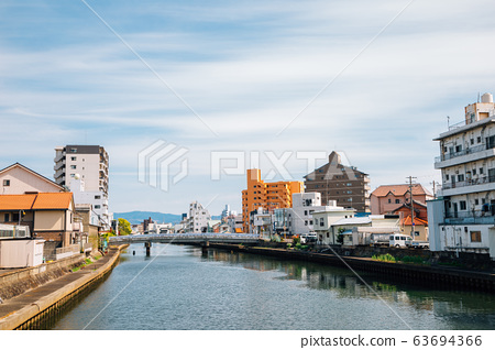 Wakayama town and river in Japan 63694366