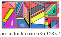 Vector colorful geometric retro color background for poster and banner 63694852