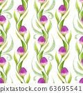 Seamless pattern with spring tulips. Summer floral background 63695541