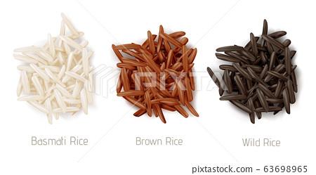 Rice basmati, brown and wild grain piles top view 63698965