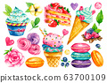 Sweet collection. Confectionery Vector watercolor food. Illustrations of cakes, pies, biscuits, ice cream, cookies, sweets 63700109