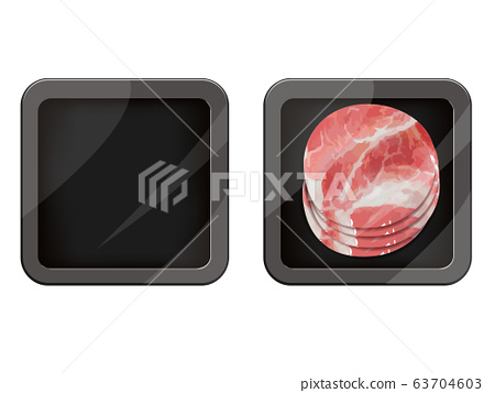 Premium Quality Pork Pack. Packaging Design Label. Abstract Vector Meat Plastic Tray Container with Cellophane Cover. 63704603