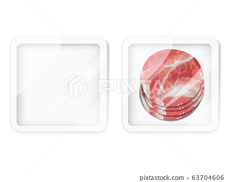 Premium Quality Pork Pack. Packaging Design Label. Abstract Vector Meat Plastic Tray Container with Cellophane Cover. 63704606