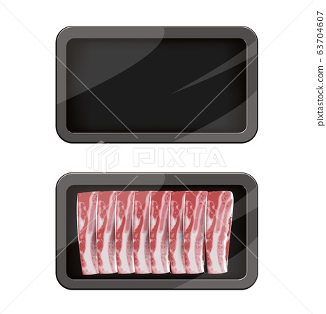 Premium Quality Pork Pack. Packaging Design Label. Abstract Vector Meat Plastic Tray Container with Cellophane Cover. 63704607