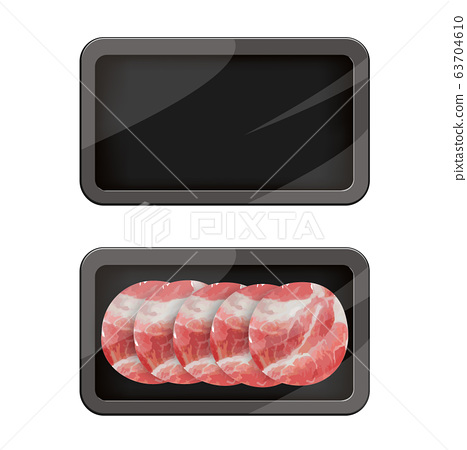 Premium Quality Pork Pack. Packaging Design Label. Abstract Vector Meat Plastic Tray Container with Cellophane Cover. 63704610