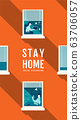 Poster Stay Home Social Distancing Concept, 63706057