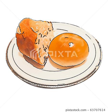 白板和麵包(手繪風格)的插圖 63707614
